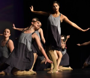 Seniors Isa Tamburini and Hayley Bell perform in the Varsity all team lyrical routine which placed fourth at Nationals last month. Photo by Lucy Morantz