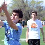 Junior Thomas Murguia attempts to grab the frisbee for a touchdown as junior Conner Rieg watches. Photo by Ty Browning