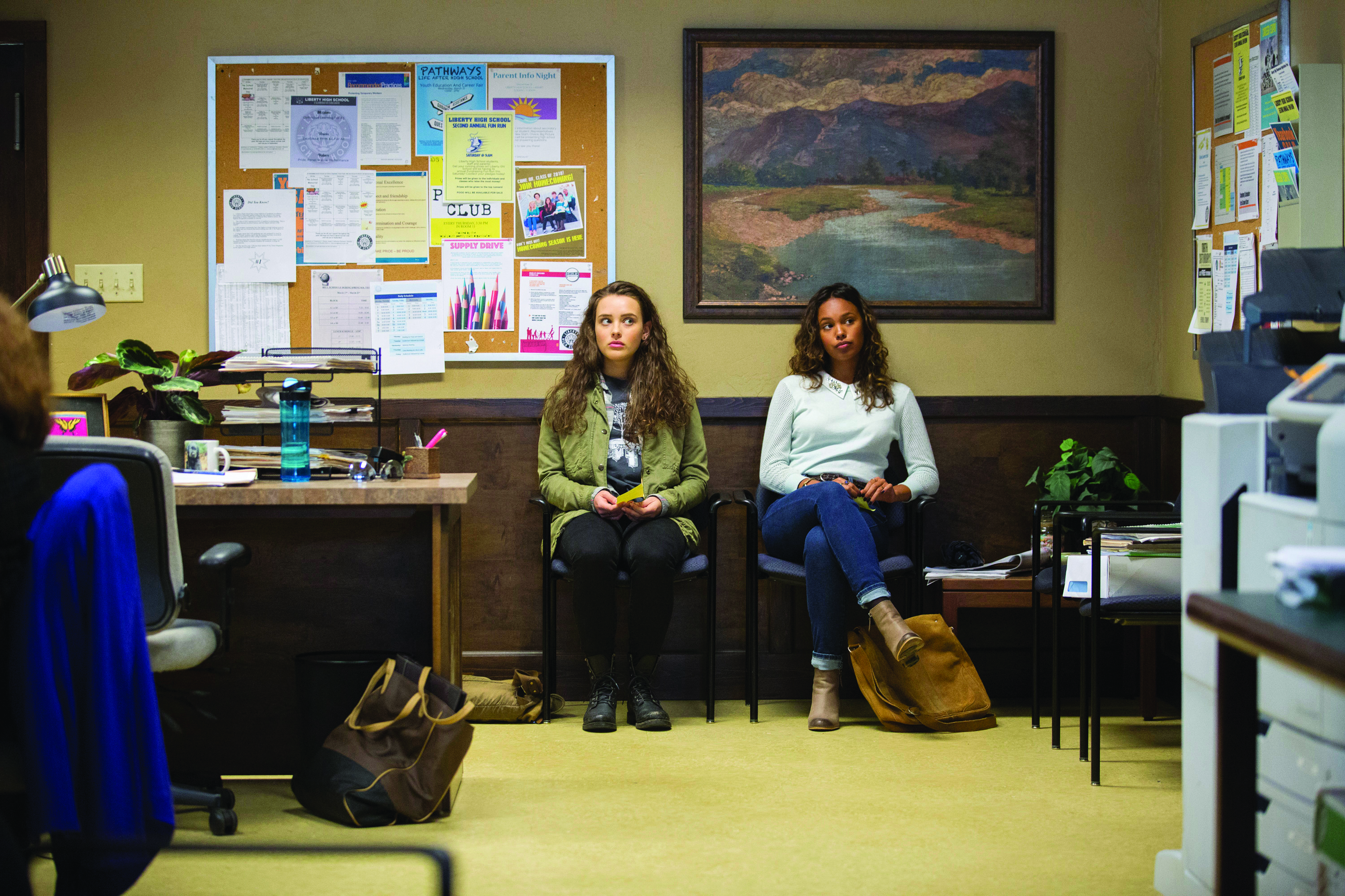 Katherine Langford, left, and Alisha Boe play frenemies in the Netflix series 13 Reasons Why