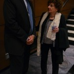 Mr. McKinney speaks to Holocaust survivor, Sonia Warshawski, after her speech. Photo by Izzy Zanone