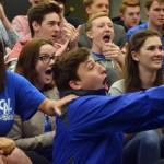 Senior Jacob Desett reacts to the nomination of his friend Senior Kylie Ledford. Photo by Katherine McGinness
