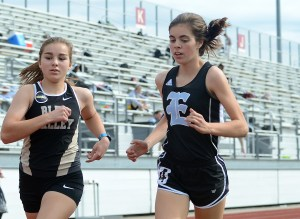 Freshman Evelyn Rosner runs the mile. Photo by Ty Browning
