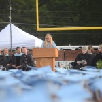 Senior and student body president Mazie Brooke gives the welcome address. Photo by Grace Chisholm.