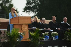 Student body President Mazie Brooks gives her farewell speech to the 2017 graduates. Photo by Drake Woods