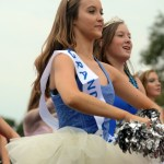 Sophomore Lily Ogg Walks with her fellow Lancer Dancers. Photo by Hadley Hyatt