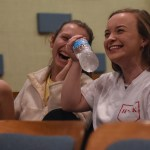 Senior Mia Vaught and Gwen Madden laugh with each other, at a funny scene. Photo by Morgan Plunkett