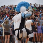 The Lancer mascot pumps up the sophomore section for the upcoming Rockhurst game. Photo by Morgan Plunkett