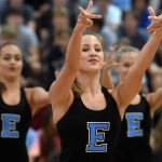 Junior Sophie Lawrence reaches towards the crowd as she dances with the varsity lancer dancers during their kick dance. Photo by Katherine Odell