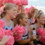 Varsity cheerleader and senior Mya Hutcherson speaks for Fox News alongside her teammates. Photo by Katherine McGinness