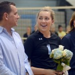 Senior Sydney Ashner stands with her family during the senior night ceremony. Photo by Kate Nixon