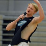"""Senior Oscar Saferstein, Mr. Lacrosse, performs the song """"Shape of You"""" by Ed Sheeran. Photo by Ally Griffith"""