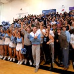 The senior class goes wild as they are recorded for a commercial for the video boards after the assembly. Photo by Ellie Thoma