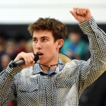 Senior John John Roney gets the students pumped up for the football game vs. BVN on Friday. Photo by Katherine Odell