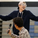 """Senior Payton Watts laughs after his talent performance, playing the recorder along to """"Xo Tour Lif3"""" by  Lil Uzi Vert. Photo by Kate Nixon"""