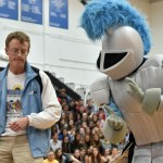 """During the waxing, senior Andrew Moore dances with the lancer to the song """"Living on a Prayer"""". Photo by Lucy Morantz"""