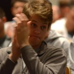 Senior Ben Dollar claps energetically after the introduction by Mr. McKinney. Photo by Luke Hoffman