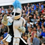 """The Lancer mascot dances to """"Livin' on a Prayer"""" by Bon Jovi while senior Denny Rice waxes his legs. Photo by Maddie Smiley"""