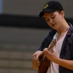 Senior Chase Owens plays the ukulele on behalf of the Ukulele Club. Photo by Reilly Moreland