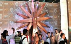 A steel charkha in the heart of the Capital
