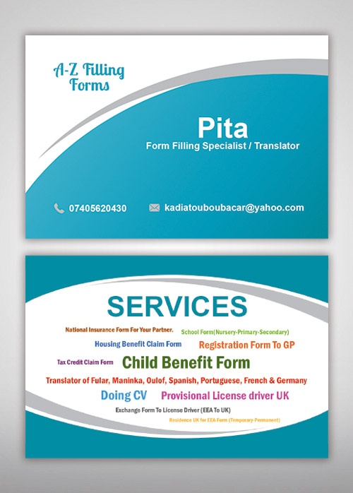 A-Z Filling Form Services Business Card - SME Web Solutions - housing benefit form