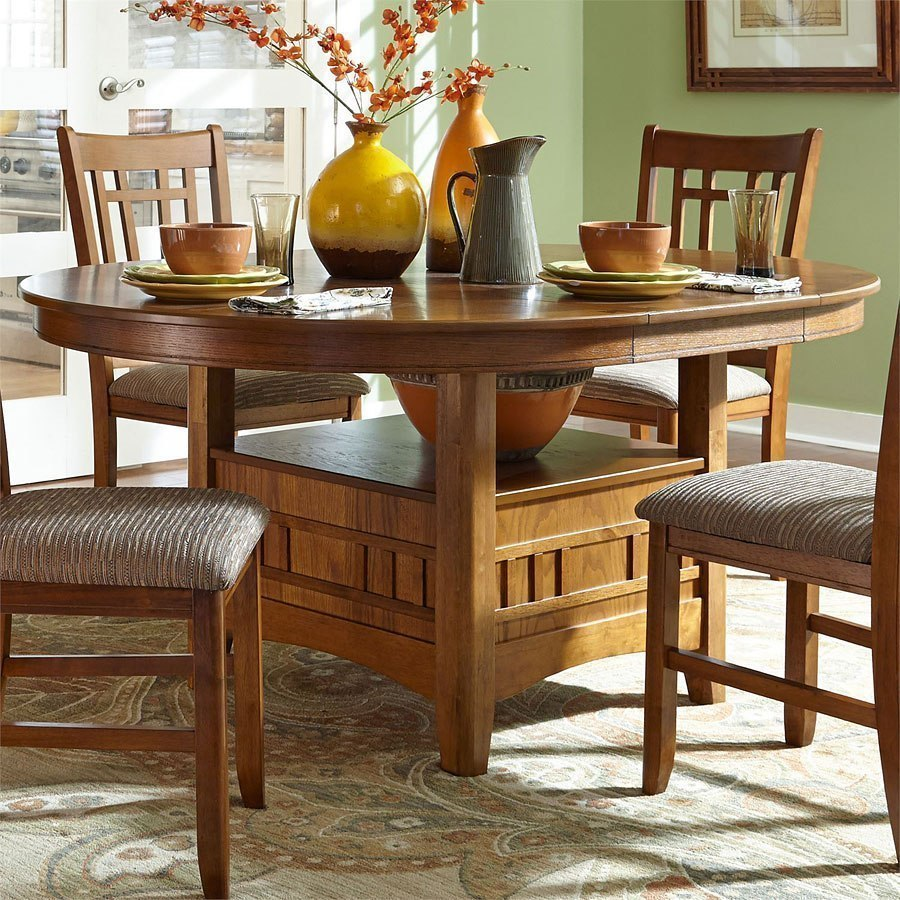 Santa Rosa Round Dining Table Mission Oak By Liberty Furniture Furniturepick