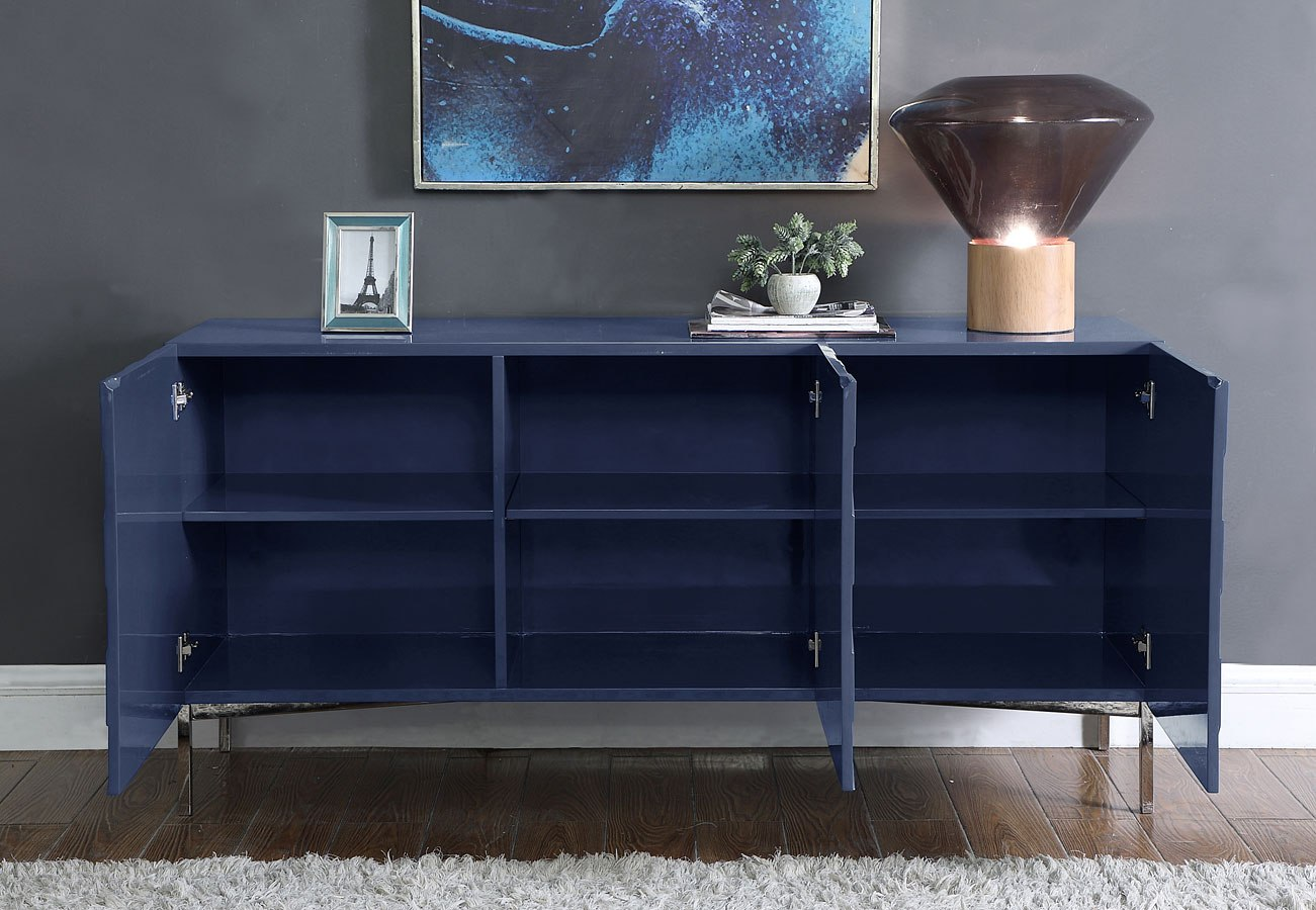 Buffet Sideboard Blue Collette Sideboard Buffet Navy Chrome