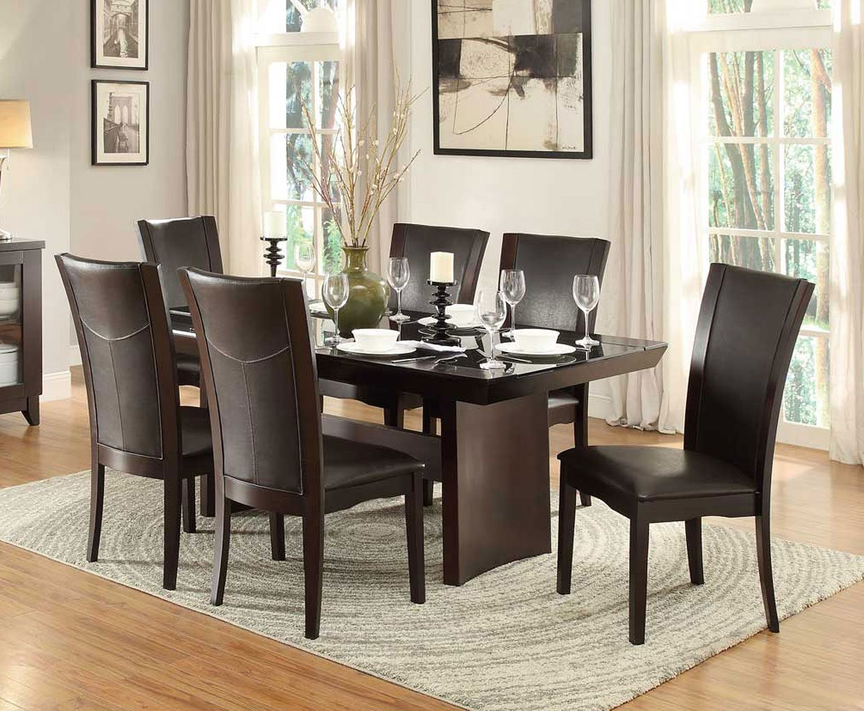 Lounche Dining Set Daisy Glass Insert Dining Room Set W/ Dark Brown Chairs