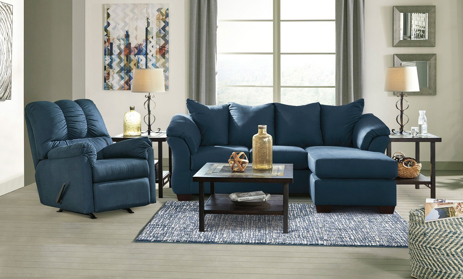 Darcy Blue Sofa Chaise Living Room Set