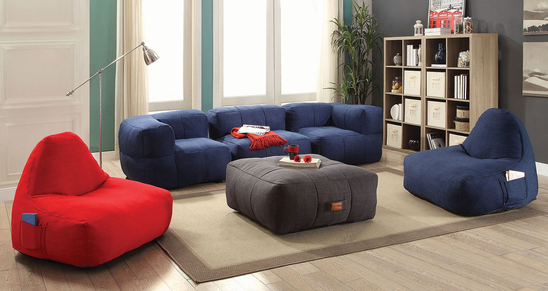 Bean Bag Living Room Lazy Life Bean Bags Living Room Set By Coaster Furniture