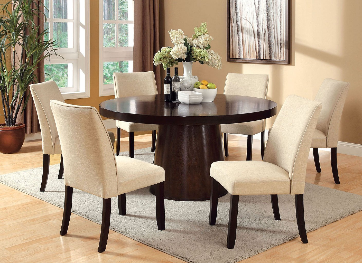 Lounche Dining Set Havana Round Dining Room Set W/ Cimma Chairs - Casual