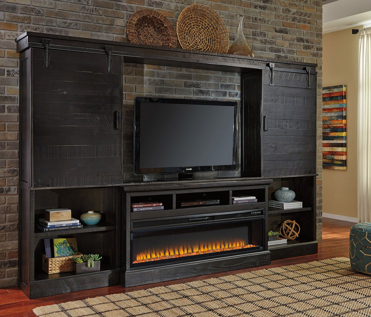 Sharlowe Entertainment Wall W Electric Fireplace