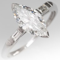 Vintage 1 Carat Marquise Cut Diamond Engagement Ring in ...