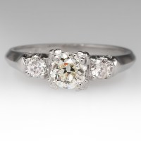 1/2 Carat Old Euro Diamond Vintage Ring in Platinum