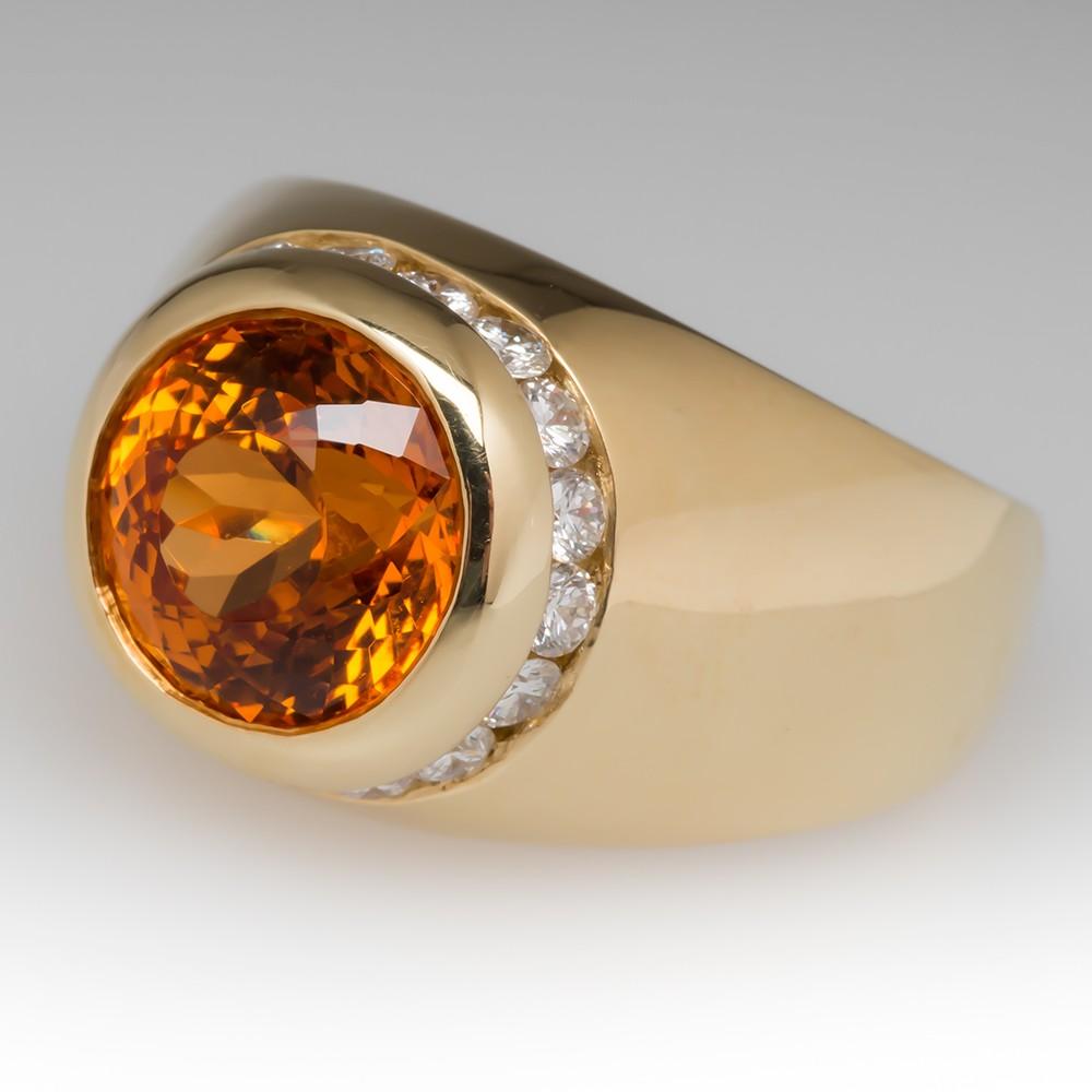 mens jewelry antique mens wedding bands Mens 7 Carat Portuguese Cut Spessartine Mandarin Garnet Diamond Ring