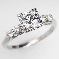 Vintage Diamond Engagement Ring Platinum GIA 1 Carat Round ...