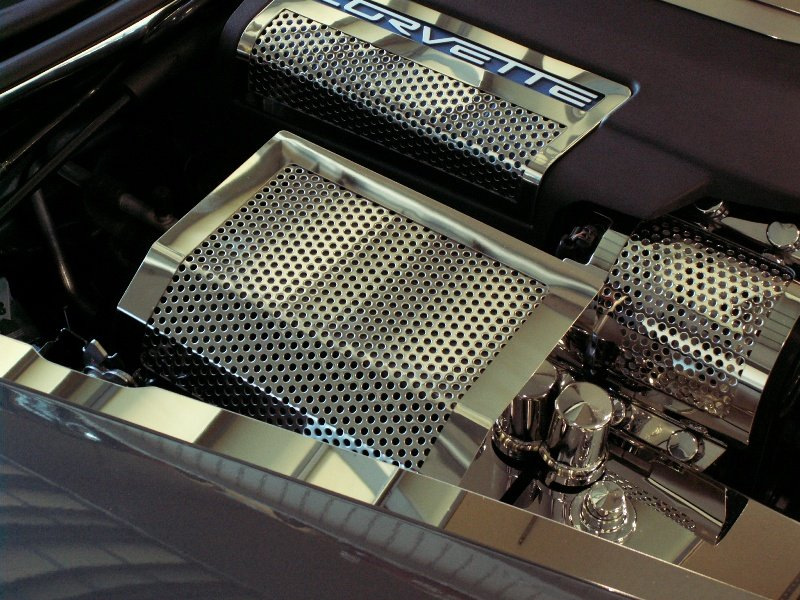 C6 2005-2013 Corvette Perforated Stainless Steel Fuse Box Cover