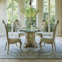 Platine De Royale Round Glass Top Dining Set (Champagne ...