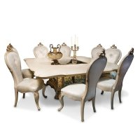 Platine De Royale Square Dining Room Set (Champagne) Aico ...