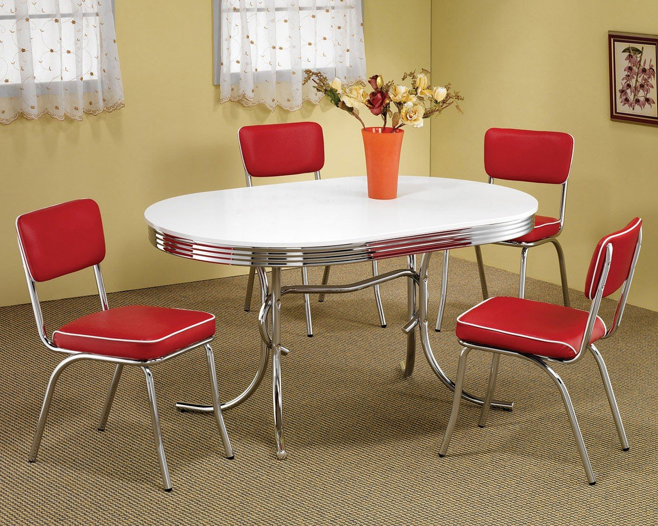 Retro Dining Room Set W Red Chairs Coaster Furniture Furniture Cart