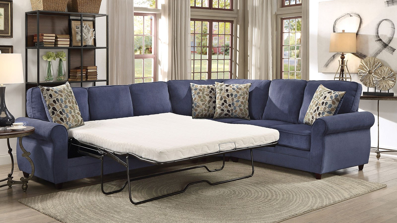 Blue Sectional Kendrick Blue Sectional W Pull Out Sleeper