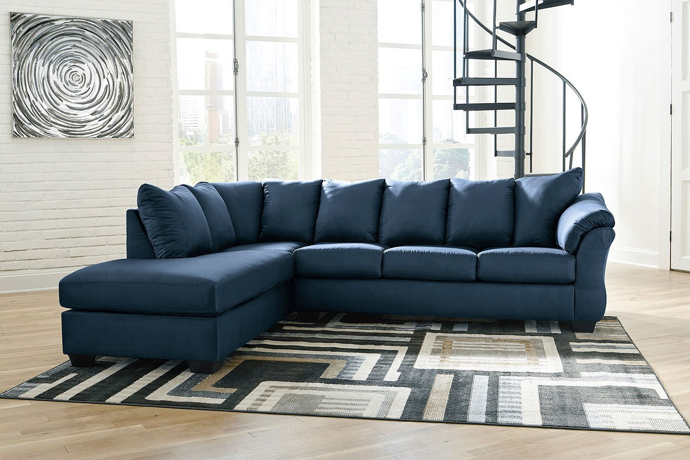 Blue Sectional Darcy Blue Left Chaise Sectional