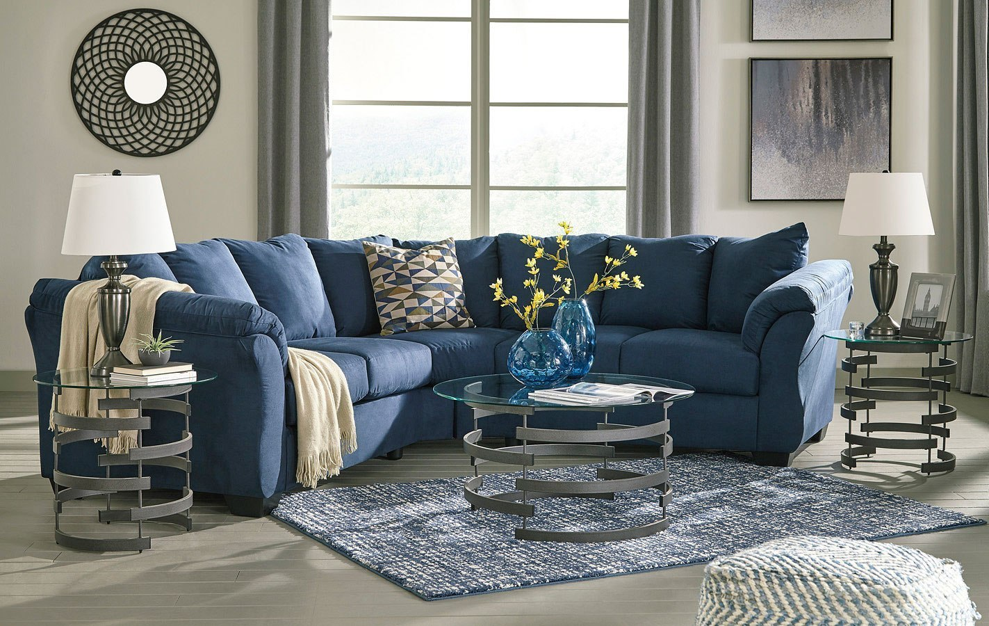 Blue Sectional Darcy Blue Sectional Set