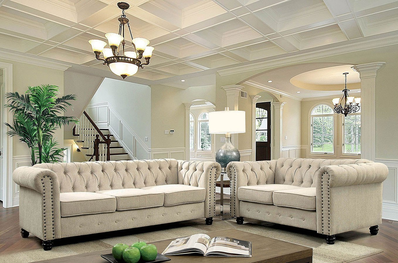 Living Room Furniture Ivory Sofa Winifred Living Room Set Ivory Furniture Of America