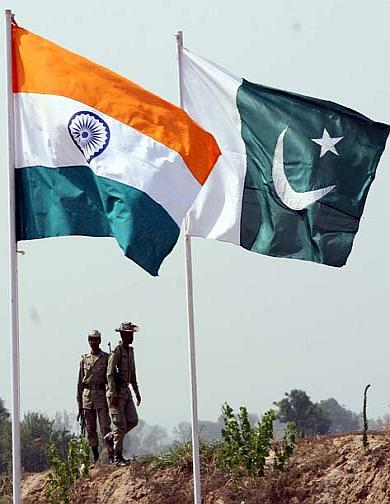 India Pakistan National Flags.