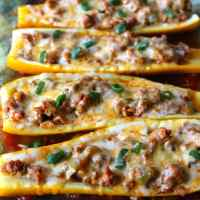 Taco Stuffed Summer Squash Boats