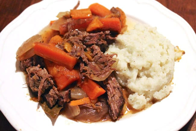 "Crockpot Paleo Pot Roast with Mashed ""Potatoes"""