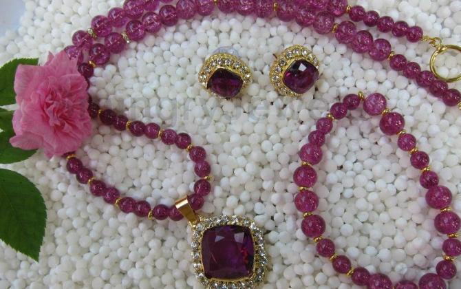 Violet-crackle-beads-Neck-Set-EC-11-Smingry-Jewels