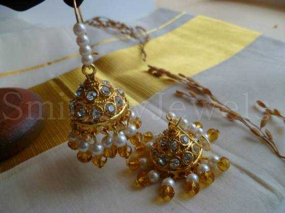 ON-HE-08 Jhumki Earrings, onam