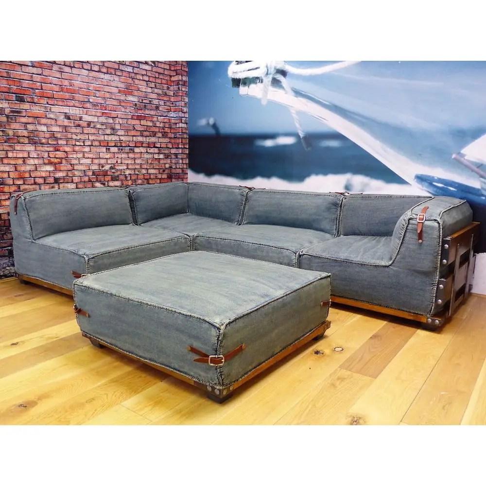Warehouse Loft Corner Sofa Handmade Designed In Denim