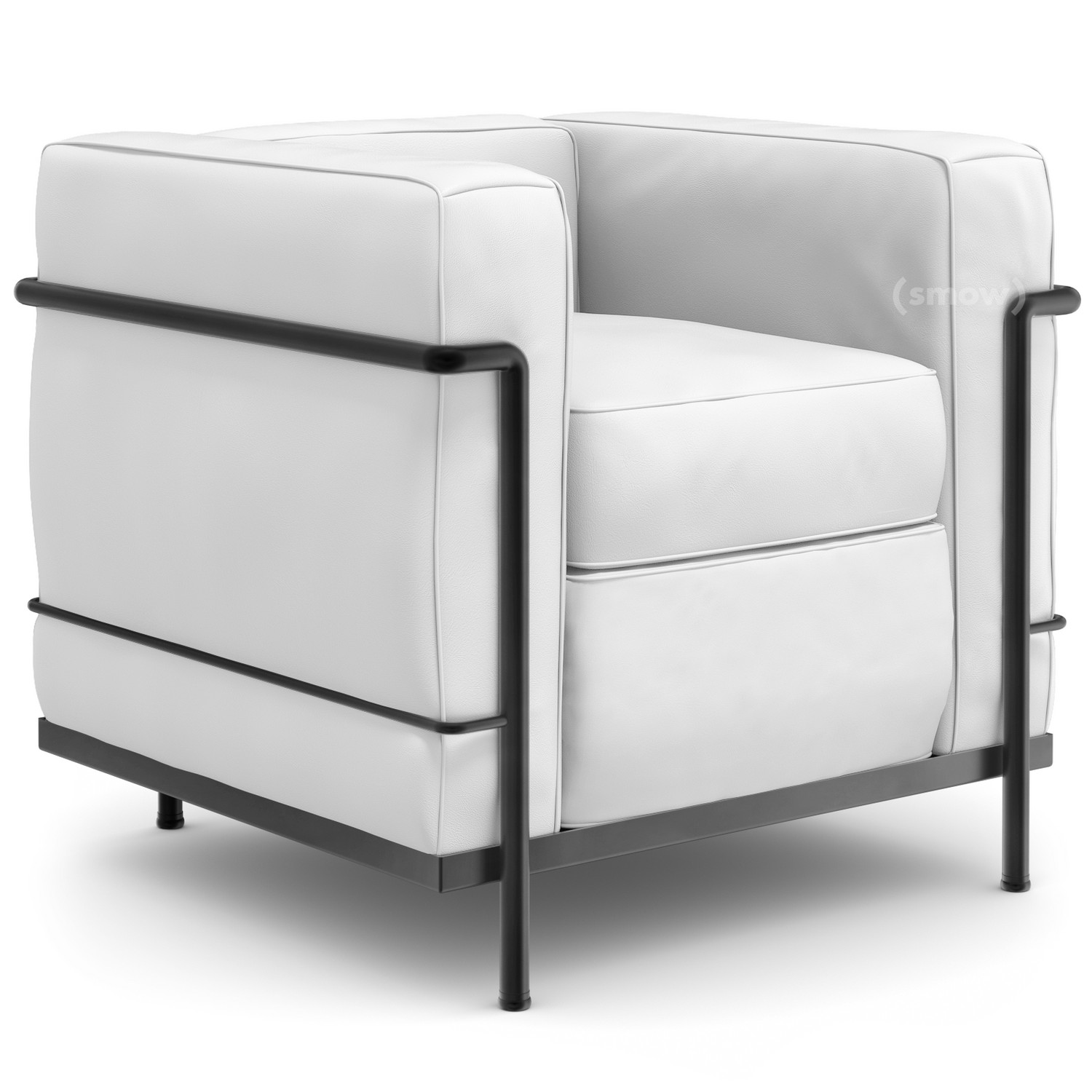 Le Corbusier Sessel Lc2 Cassina Lc2 Armchair Matt Black Lacqured Leather Scozia White